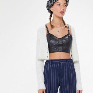 NWT Urban Outfitters $198 black leather Bustier S